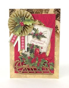 Handmade Christmas card from the Anna Griffin Holiday Trimmings Card Making Kit, featuring festive borders and embellishments that look like a gift! Description from pinterest.com. I searched for this on bing.com/images