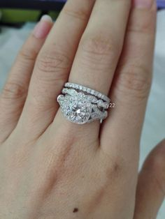 Womens Diamond Trio Bands Bridal Wedding Engagement Ring Sets 14K White Gold #giftjewelry22 #EngagementWeddingAnniversaryPartyDailyWear