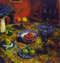 SOLD: Margaret Olley Yellow Tablecloth with Cornflowers Australian Painters, Australian Artists, Yellow Tablecloth, Still Life Art, Fine Art Gallery, Artist Art, Watercolor Paintings, Drawings, Artwork