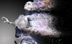 Cyborg shattered into dust - Cyborg shattered into dust. 3D illustration