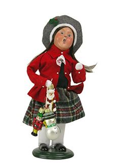 Byers Choice Caroler Girl with Glass Ornaments