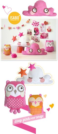 isabo, owl and cloud cushions / cuscino nuvola e gufo