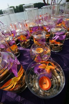 wedding purple / wedding centerpieces round table purple and orange wedding purple and orange weddin Wedding Themes, Wedding Colors, Wedding Flowers, Wedding Decorations, Wedding Ideas, Sunset Wedding Theme, Stage Decorations, Wedding Favours, Orange Purple Wedding