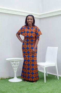 Robe col chevauchement bleu   Collier long, robe Ankara, imprimer mariage africain, africain, étage longueur robe, robe longue, robe longue
