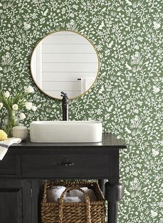 Fox & Hare Wallpaper in Forest Green from Magnolia Home Vol. 2 by Joan Fox & Hare Wallpaper in Fores Green Wallpaper, Home Wallpaper, Wallpaper Roll, Wallpaper In Bathroom, Wall Paper Bathroom, Forest Wallpaper, Wallpaper Ideas, Tiled Walls In Bathroom, Bathroom Wallpaper Inspiration