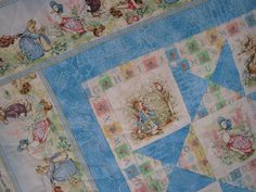 Baby Quilt Peter Rabbit and Friends Blue MADE TO by bellazahn, $155.00