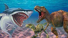Dinosaur Vs Shark Full Movie 3D Epic Battles Finger Family Rhymes Animal...