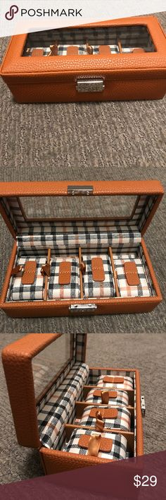 Camel Leather Watch Case by Tuscan Designs Brand New Camel colored watch Case with latch and key to lock and holds up to 4 watches. Measurements are  9 inches long 4 1/4 inches wide 3 inches in depth Tuscan Designs Accessories Watches