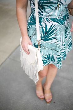 Mae Amor: How to Wear Bold Prints - H&M Palm Leaf Dress, Sole Society Fringe Bag, Tory Burch Wedges, Gorjana necklace