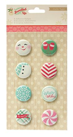 American Crafts - Crate Paper - Bundled Up Collection - Christmas - Adhesive Badges at Scrapbook.com