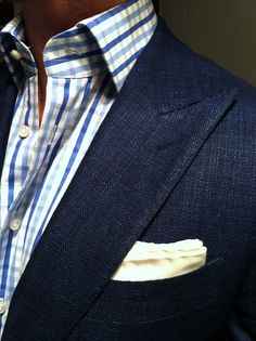 Shades of blue - Great texture on the jacket and crisp white pocket square sets the whole look off.