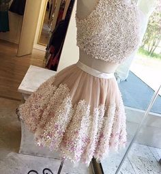 Two pieces prom dress, homecomin dress, 2017 cute champagne tull + lace appliques short dress for teens
