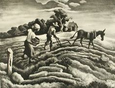 """Currier Collections Online - """"Planting"""" by Thomas Hart Benton"""