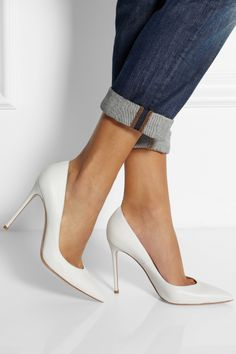 Gianvito Rossi - Leather pumps. Rossi ShoesWhite ShoesWhite PumpsWhite High  HeelsClutchChic ... c1501b18a79c