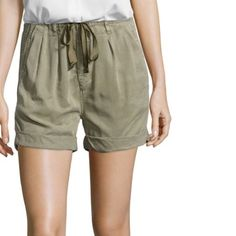 """AG Jeans """"paper bag"""" drawstring shorts Super cool and comfy shorts from AG in a olive green. Cuffed hem. Approx 12″ rise. Pleated detail at front. 100% lyocell contemporary fit.  Angled slit pockets at front with button welt pockets at back. woven paper bag stretch waist short 3½ """" inseam. 12"""" rise. Zip fly with hook and eye closure; stretch waistband with belt loops and drawstring self tie. Machine Wash. EUC AG Adriano Goldschmied Shorts"""