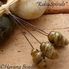 RAKU SPIRALS  - Set of 4 Handmade Lampwork Glass Headpins by Havanabeads.etsy.com