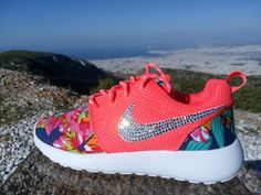nike roshe run women athletic sneakers coral color sport shoes custom with fabric floral and blinged with swarovski crystals by jwlstore on Etsy