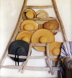 vintage fruit ladder reclaimed hat rack - this belongs in my holiday home along with an assortment of woven beach bags for guests to help themselves to! Hat Display, Ivy House, Repurposed, Wicker, Projects To Try, Creations, At Least, Wall Decor, Crafty