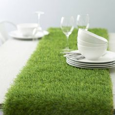 great for a themed dinner party - Artificial Grass Table Runner