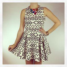 New Arrivals :: Essex Geo Dress, $55 #SkirtCrush #ThingsWeLove #PopOfColor www.popintotheshop.com