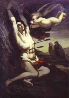 """Martyrdom of St. Sebastian - Honore Daumier """" The burdens of a woman are more than the averae man could bear"""" quote by artist"""