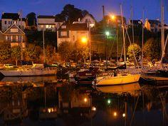 Le port de Morlaix, la nuit, Finistère, Bretagne