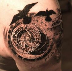 Mechanical clock and raven tattoo.