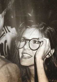 Carrie Fisher! Classic her, wearing Harrison Ford's glasses!