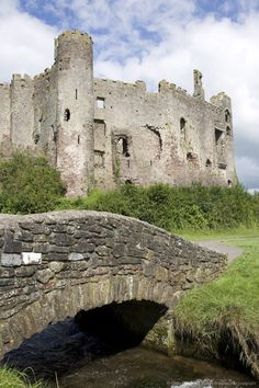 Castle and footbridge, Laugharne, Carmarthenshire, South Wales, Wales