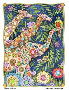 Giraffe Motif - Art and coloring © Marjorie Sarnat