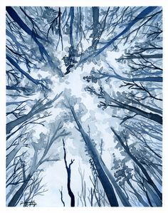blue forest watercolor
