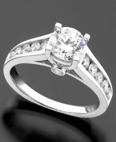 Engagment Ring, Diamond (3/4 ct. t.w.) and 14k White Gold - Rings - Jewelry & Watches - Macy's