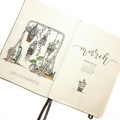 Bullet journal monthly cover page, March cover page, hand lettering, potted plants drawings. | @bujo.maripol