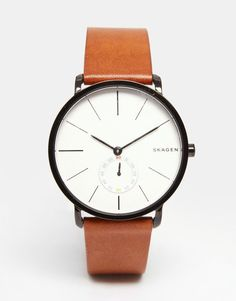 Image 1 of Skagen Hagen Leather Watch In Brown SKW6216