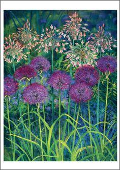 Floral Illustrations, Illustration Art, Allium Flowers, Morris, Diy Painting, Fence Painting, Art Oil, Watercolor Flowers, Garden Art