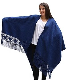 Womens Soft Alpaca Wool Cape Poncho Ruana Shawl Crochet Edge With Roses (Blue) -- Want additional info? Click on the image.