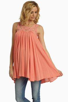 Summer is finally just around the corner and what perfect timing for this coral cutout neckline linen maternity tank top!