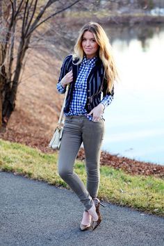 grey skinnies and blue plaid button up- why do i LOVE this look so much??