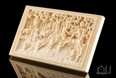 A Beautiful Carved and Ivory Plaque depicting Krishna Watching the Gopsi Bathe, Probably Delhi or Bombay, India, late 19th Century. - July 2015 - New Items