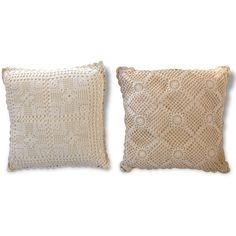 Coussins Crochet - Tissu - Beige - Bon état - Vintage - 62518