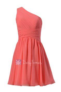 Pretty Light Coral One-Shoulder Short Prom Dress Bridesmaid Dress(BM351)