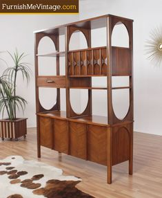 Mid century modern room divider bookshelf by Kent Coffey - want want want