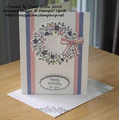 Birthday card made using the Circle of Spring stamp set and Wonderful Wreath Framelits dies from Stampin' Up! http://tracyelsom.stampinup.net