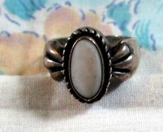 RING -  MOP - Mother of Pearl - Signed  R - Half Moon - Carolyn Pollack - Sterling Silver -  925 - Size 6 1/2  mop10 by MOONCHILD111 on Etsy https://www.etsy.com/shop/MOONCHILD111