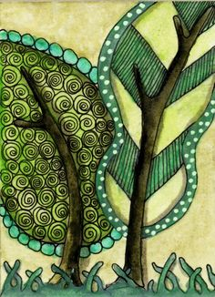 Shades of Green zentangled leaves by ptrish40 @ Flickr