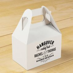 Funny Hangover relief kit, wedding reception favor boxes, custom