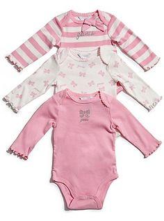 GUESS Newborn Girl Billie 3-Piece Onesie Set (0-9M) | GuessFactory.com