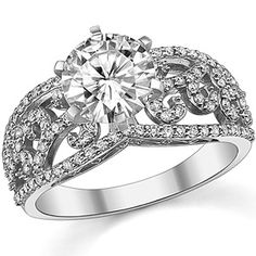 Round Moissanite  Diamond Wide Antique Style Ring someday