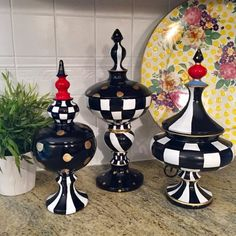 Whimsical painted finial urn set Hand painted canister set Finial Black and white painted finials Alice in wonderland Painted table decor – Dresser Decor Ikea Cupboards, Mackenzie Childs Inspired, Mckenzie And Childs, Home Coffee Stations, Glass Candlesticks, Hand Painted Furniture, Black Decor, Whimsical Art, Canister Sets