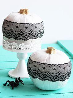 BHG // White pumpkins // black lace